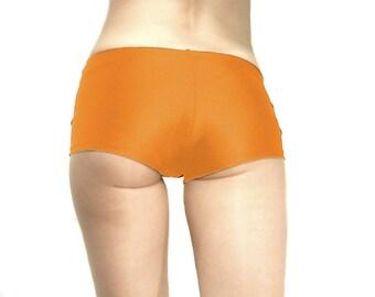 Spandex micro mini shorts hot pants orange