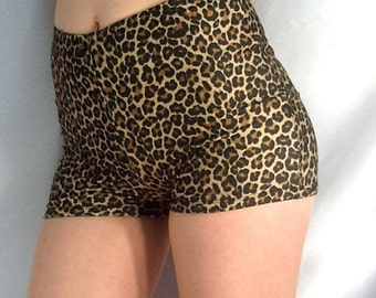 Retro style high waisted Leopard Print spandex shorts hot pants