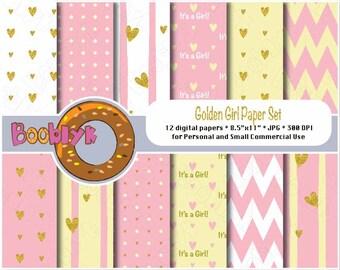 Golden Girl Scrapbook Paper Pack - Set of 12 Digital Papers - Instant Download
