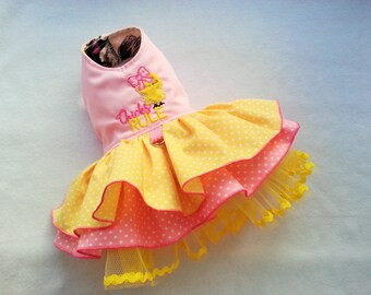 Small Dog clothing Easter Chick Dress, Harness dress Chihuahua Coat puppy Yorkie outfit Designer limited edition XS