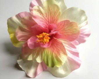 Pink and cream hibiscus hair clip