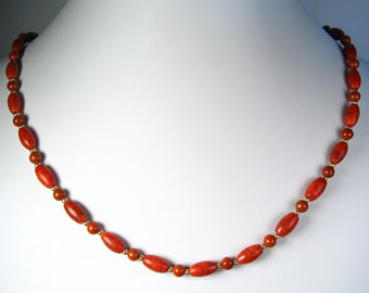 Coral and Red Jasper Necklace Gold