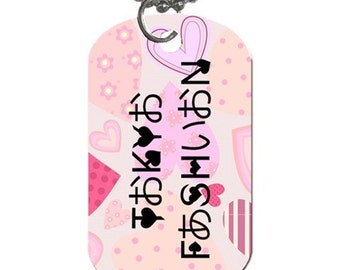 Seoul Fashion Hangul x English / Tokyo Fashion Hiragana x English Hearts Dog Tag
