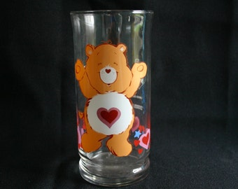 "Vintage Care Bear glass. ""Tenderheart bear"". Very cool."