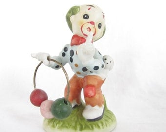 Vintage clown statue figurine red green blue yellow beads circus decor made in Taiwan