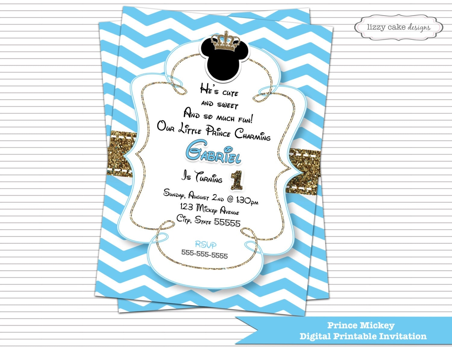 Prince Mickey Mouse Birthday Invitation Blue & Gold Mickey