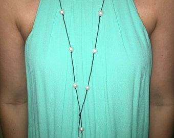 Long Multiple Bead Leather and Pearl Necklace