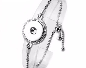 Silver 1 Button Snap On Noosa Charm Tassle Bracelet w/ White Stones, For 18mm 19mm 20mm Snaps, Snap Jewelry Bracelet