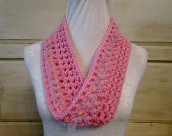 Infinity Pink Swirl Crochet Scarf-Child or Adult