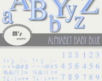 Digital Alphabet Clip Art. Letters in Baby Blue with transparent background. Time Roman Font