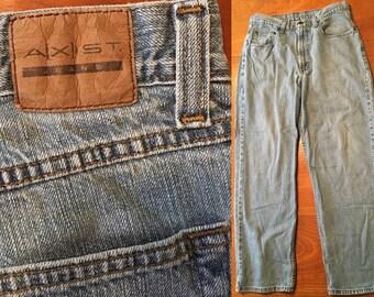 High Waist Jeans Vintage Axist 80s eighties 1980s nineties 90s 1990s grunge hippie punk boho women blue jeans boyfriend mom jean size 16