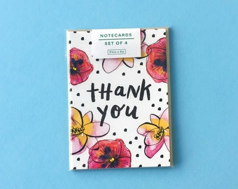 Watercolor Flower Thank You Notecards, Set of 4 Small Stationery Notecards with Blank Back