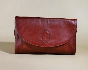 Original Vintage CL Burgundy Leather Bag, Shoulderbag