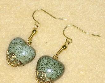 Valentine's Day, Green Ceramic Heart Earrings
