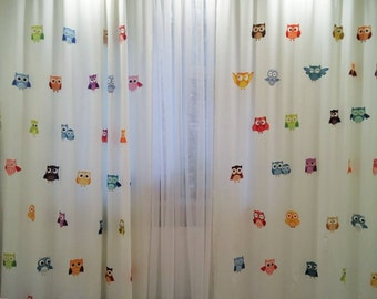 Curtains with owls, kid's Room Baby Nursery Curtain