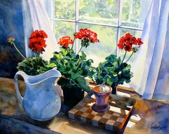 Watercolor Flowers, Floral Print, Watercolor Flower Print, Geranium Print, 8 x 10 inch Print, Flower Still Life, Kitchen Still Life, Reds