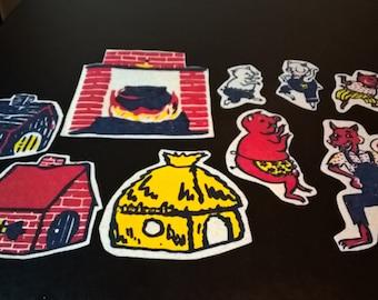 Vintage Felt Board 3 Little Pigs Scene **FREE SHIPPING**