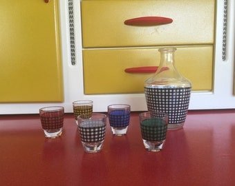 1950s Decanter and Shot glasses, houndstooth print.