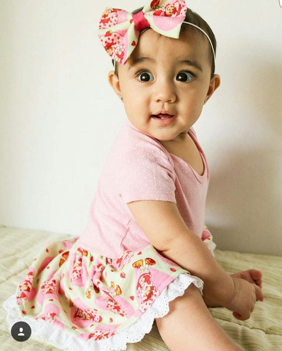 Strawberry Shortcake Berry Sweet vintage newborn baby girls skirt and headwrap or bow set