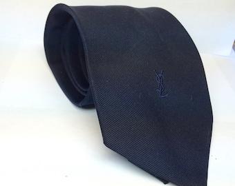 Vintage silk tie by YSL Yves Saint Laurent Paris New York Solid navy