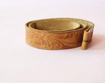Vintage Brown Tooled Leather Belt, 1970s, Western, Boho, Retro, Floral