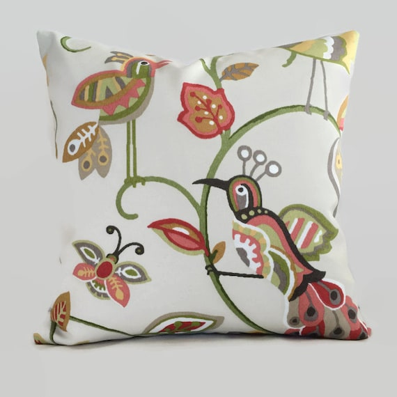 Bird Pillow Floral Indoor Outdoor Throw Pillow Cushion Cover