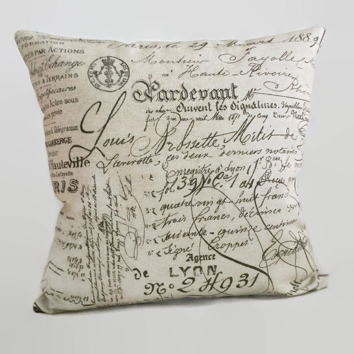 Document Pillow Brown Script Word Decorative Zippered Throw