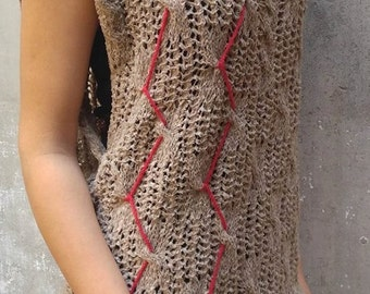 """Cable knit / knitted braided comfy vest """"Twist"""""""