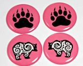 "Pink Bear - 1"" Round Epoxy Cab - 2 pairs"