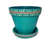 Turquoise Paisley Painted Clay Flower Pot