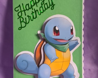 3d Squirtle Pokémon birthday card suitable for all Pokémon fans,a name age and family member can be added if requested when ordering card