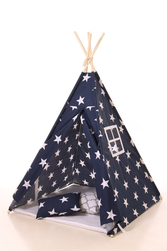 Kids Teepee Tent Navy Blue With White Stars Plain Cotton