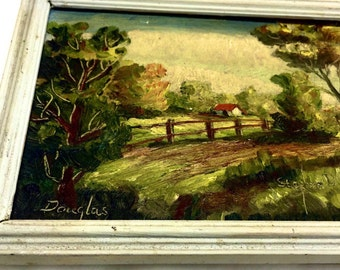 vintage Stephen Douglas original oil painting country home off dirt road scenic painting
