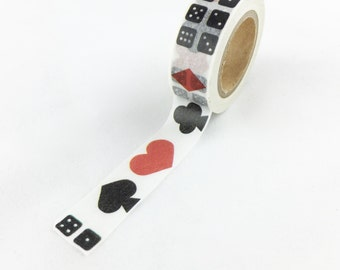 Red and Black Poker Symbols - Spade, Heart, Club, Diamond and domino Washi Tape // 15mm // Paper Tape // BBBsupplies {CR-W-P301}