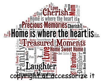 A4 or 5x7 Size Personalised Word Art Print - Home Sweet Home - New Home Gift !  *Digital File Also Available*