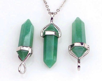 Polished Natural Green Aventurine Point Pendant, Crystal Quartz Druzy Pendant With Silver Plated Bail