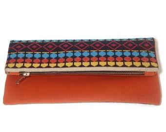 Clutch bag, pouch bag orange - Ethnic, boho and chic style - Eco friendly - Wedding, bridesmaid clutch