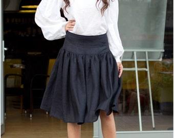 Blue skirt, linen skirt, summer skirt, blue linen skirt, a linen skirt, skirt with pockets
