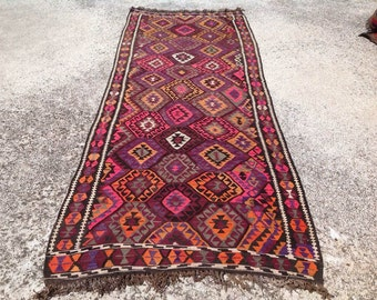 "11'6"" x 4'5"" pink and purple Kilim rug, Vintage Turkish kilim rug, kilim rug, Purple area rug, vintage rug, floor decor, 272"