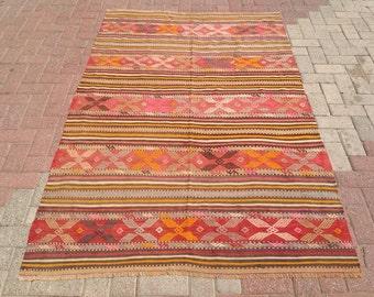 Vintage Turkish kilim rug, 82.5'' x 54'', area rug, kilim rug, kelim, vintage rug, rug, rustic rug, rug,, floor rug, bohemian rug, rugs, 219