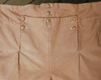 18th century fall front pants, Regency fall front pants, colonial pants