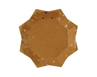 SMALL Kraft paper plate with gold foil stars. Twinkle Twinkle Little Star party paper plate. Gold foil star plates. Star-shaped paper plate.