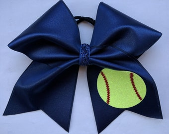 Custom Color Bow with Glitter Softball Pattern
