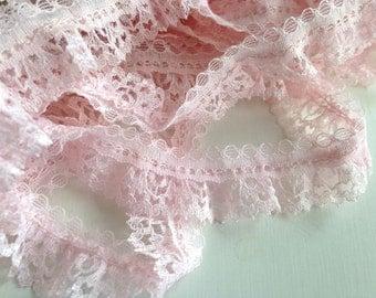 Alençon lace, Pale Pink lace,  point d'Alençon, trim, 2 cms wide, 60 inches, lace by the yard,floral lace, french lace trim, ships free
