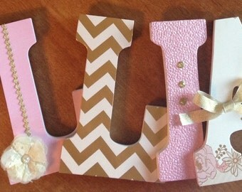 Nursery letters, Pink and gold nursery decor, Custom wooden letters, Pink and gold wall art