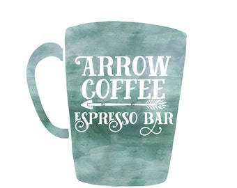 Premade Customizable Watercolor Logo - Coffee - Business Cards - Blog - Marketing - Branding