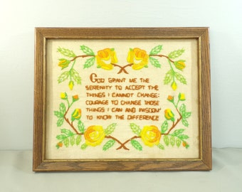 70s God Grant  Me Prayer Crewel Embroidery, Framed Embroidery, Floral Embroidery, Embroidered Print, Green Yellow , Prayer,Hand Embroidery