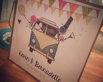 Personalised camper van wedding card , bride and groom, button people (personalised as option) wedding cards