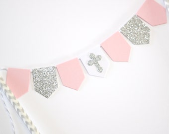 Baptism Christening Cake Topper Bunting Pink White and Silver