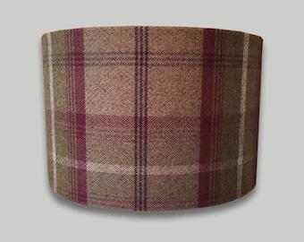 Balmoral Heather Tartan Tweed Check Drum Lampshade Lightshade Country Lamp Shade 20cm 25cm 30cm 35cm 40cm 50cm 60cm 70cm